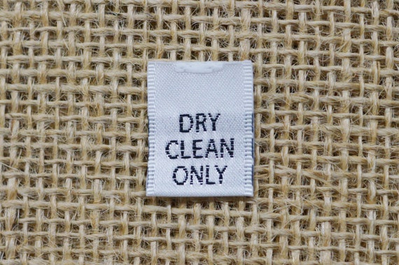 DRY CLEAN ONLY 100 PCS WHITE WOVEN FOLDED CLOTHING CARE LABEL