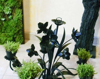 chandelier plant, candlestick, metal and iron