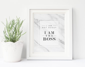 I am the Boss print, quote art, marble print poster office wall art home decor, inspirational poster, typography print, print download