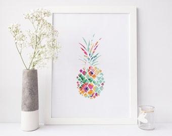 Pineapple Print, floral print, pineapple wall art, summer print, ananas print, nursery print, office print, printable art, print download