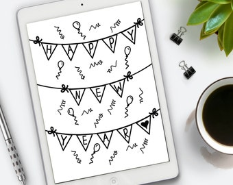 Happy New Year, Printable Art, Instant Download