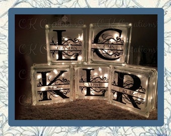 Decorative Glass Block with initial and last name  Lit block Customized glass block Glass block with name