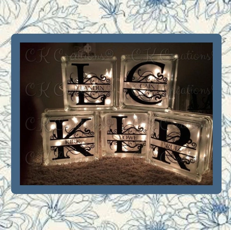 Decorative Glass Block with initial and last name  Lit block image 0