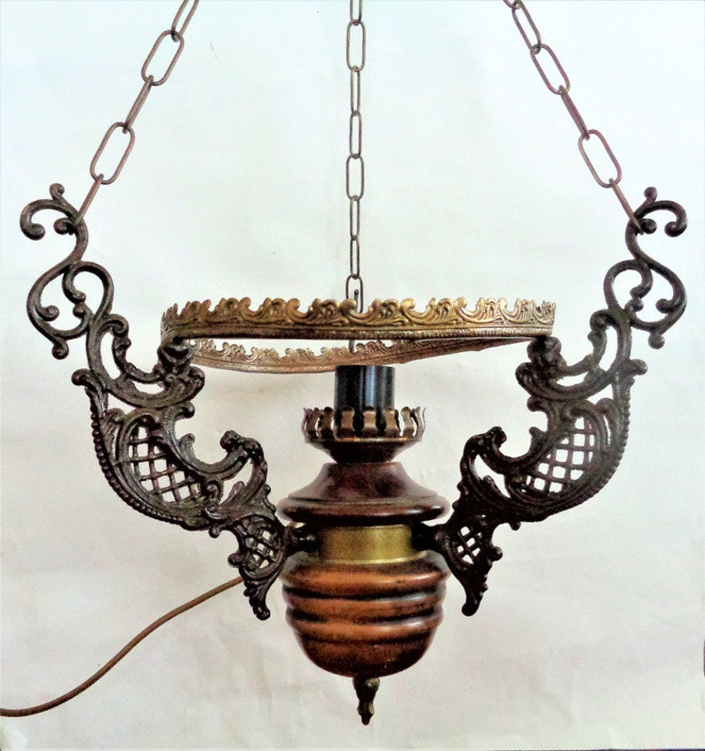 Lamp Parts Antique Hanging Ceiling Light Fixture Wood Brass Ornate Chandelier Pendant Lamp Parts Hanging Lamp For Parts Or Repair
