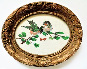 Vintage Ornate Frame, Gold Wood Plaster Gilded Picture Frame, Oval Picture Frame with Glass, needlepoint tapestry, tapestry birds