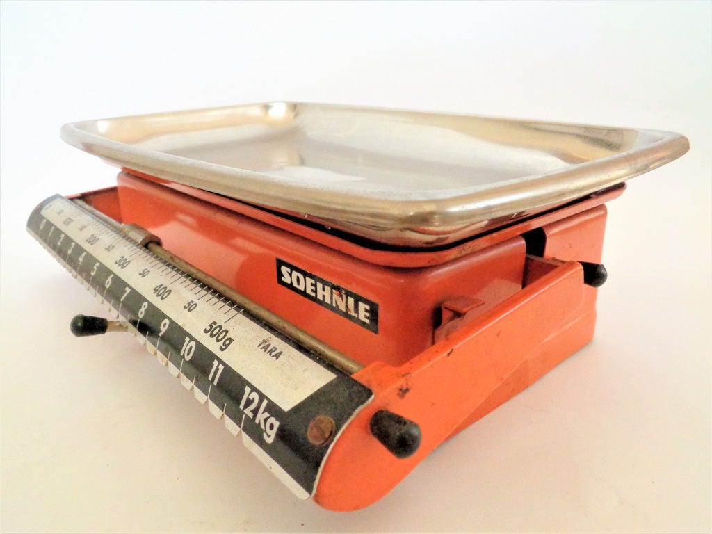 Vintage Kitchen Scale, SOEHNLE Scale, Stainless Steel German Kitchen Scale,  Soehnle Kitchen Scale, Made in Germany, 12.5kg, 27lb 5oz, 70s