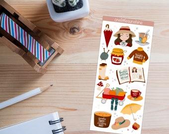 Cozy Autumn - Waterproof Sticker Set - Matte Vinyl Die Cut Stickers - Digital Art - Bullet Journal/Planner Friendly