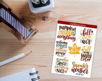Autumn Lettering - Waterproof - Bullet Journal Inspired Stickers - Sticker Set - Matte Vinyl Die Cut Stickers