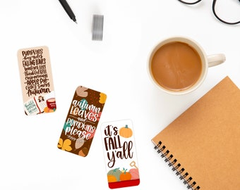 Cozy Autumn Collection Bookmarks (3 designs) - Glossy Lamination - Cute Stationery