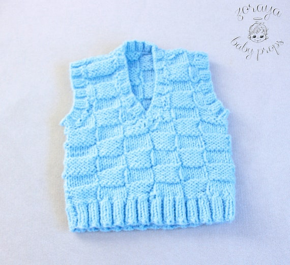 d45971308 Blue Vest Baby Boy Sweater Sitters Prop Baby Photography