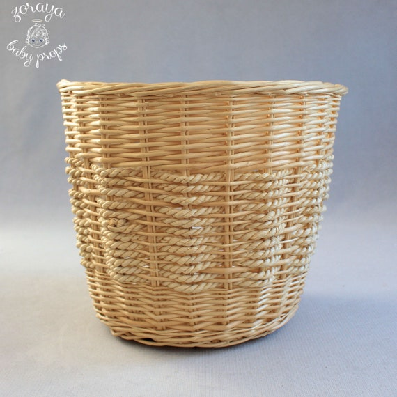 Wicker  Basket, Photography Prop, Natural Colors B