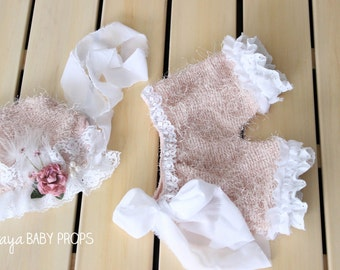 Lace Props,Bonnet, Bloomers, Newborn Photography, Baby Girl Set, Photo Props, Neutral Props, Cream Props, Newborn Photography,Newborn Props