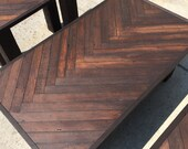 Asymmetrical herringbone pattern coffee table with matching end tables