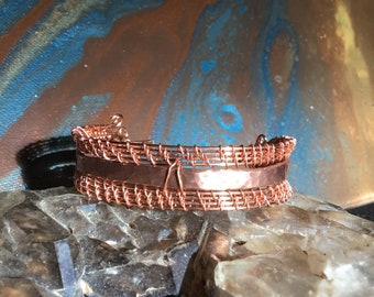 Forged and wire weave copper bracelet