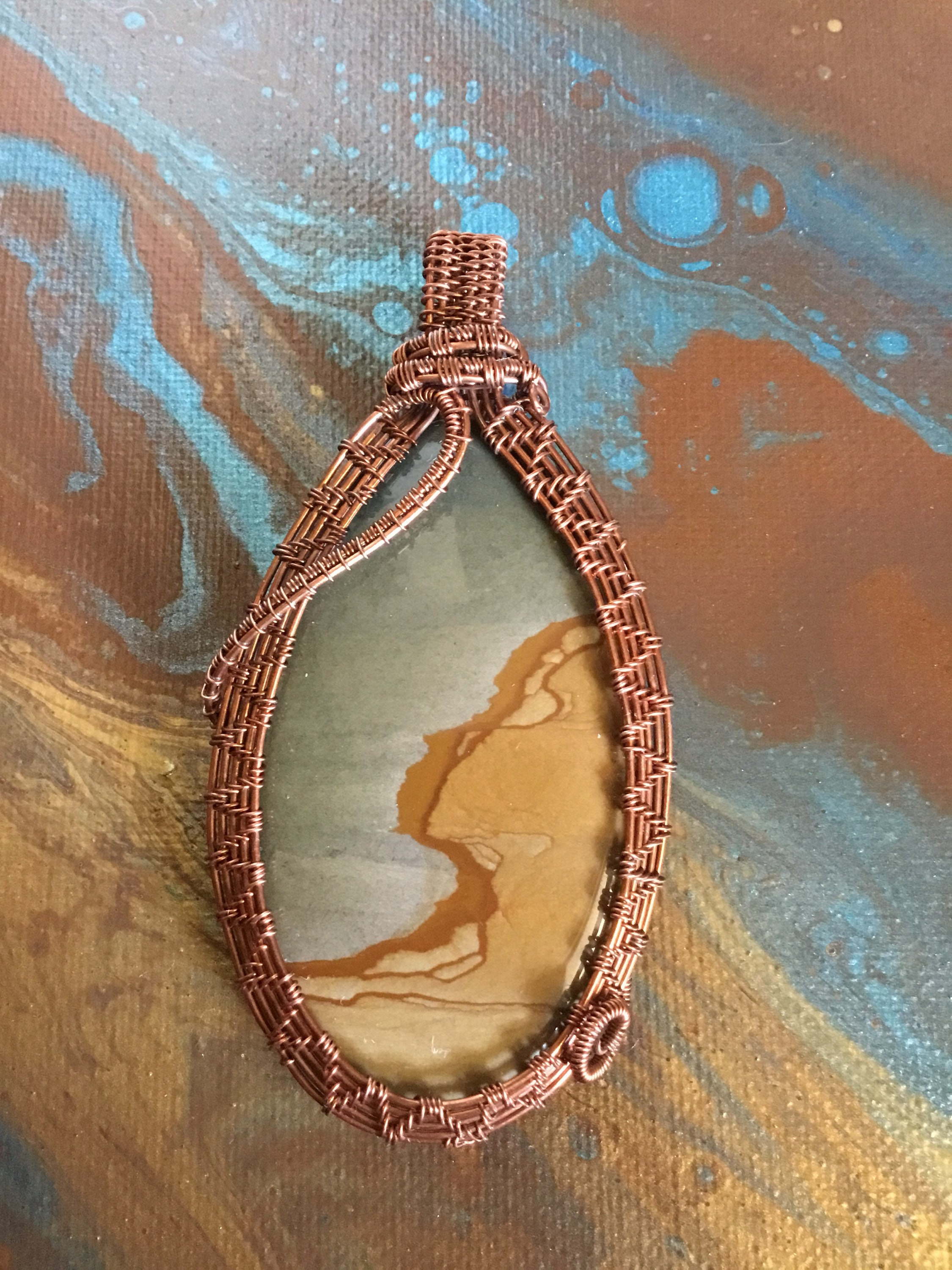 Picture jasper oxidized copper wire weave | Etsy