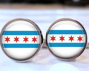 61abda088dd6 Chicago Flag Cufflinks for a Policeman or Chicago Tourist - Souvenir