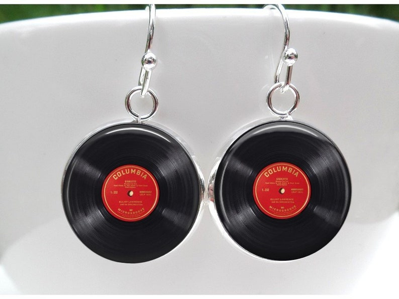 Gift for dj Vinyl Record Earrings, Music Lover Vintage LP record album  jewelry