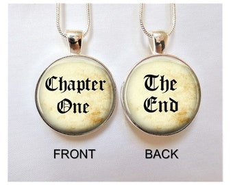 Book Reader Gift Necklace, Gift for Teacher, Gift for Book Lover, gift for Librarian, Chapter One, The End