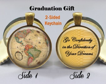 World globe keychain world map key chain gift for world go in the direction of your dreams keychain graduation gift for him her world globe gumiabroncs Gallery