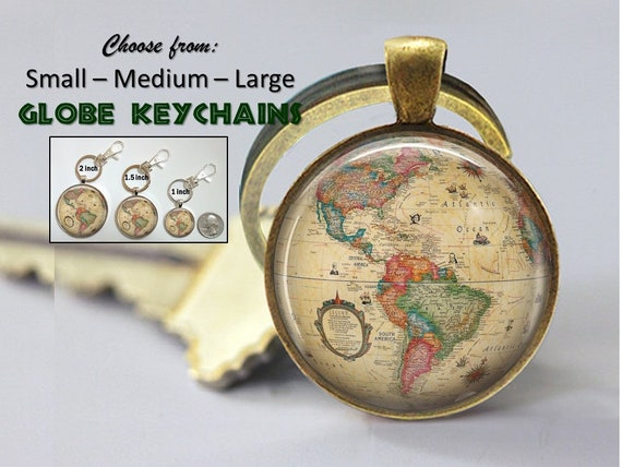 America Map Globe Necklace double-sided Gift for world traveler  antique vintage colorful world globe pendant 2 sided personalized words