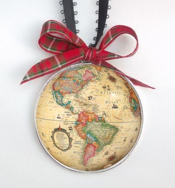 World Globe Ornament World Map Christmas ornament necklace ...