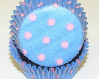 Light Blue with Pink Polka Dot Cupcake Liners - 50 count