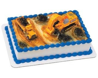 Construction DigTrucks Cake Topper