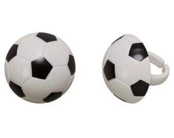 Soccer Ball Cupcake Rings - 24 Count
