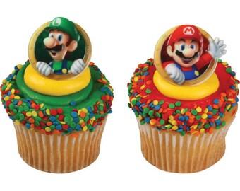 Super Mario Mario & Luigi® Cupcake Rings - 24 Count