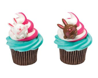 Brown & White Easter Bunny Cupcake Rings - 24 Rings