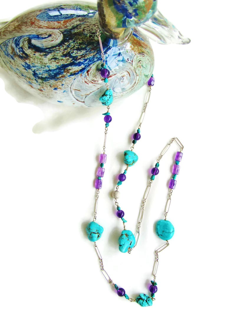 Long Turquoise Amethyst Sterling Silver Necklace-December Birthstone-Christmas Birthday Gift-Natural Gem Jewelry-Gift for Her-Elegant Style