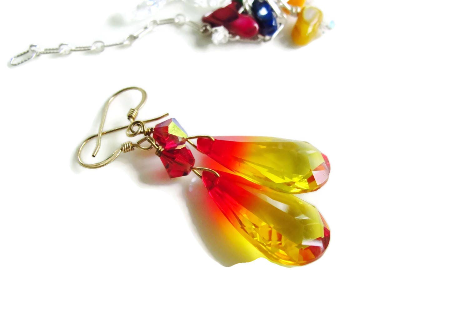 Earrings Christmas Gift Idea Red Yellow Crystal Teardrop