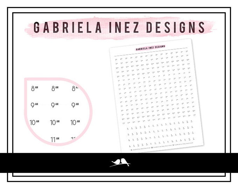 Hourly Strip Planner Stickers  Perfect for your Erin Condren image 0