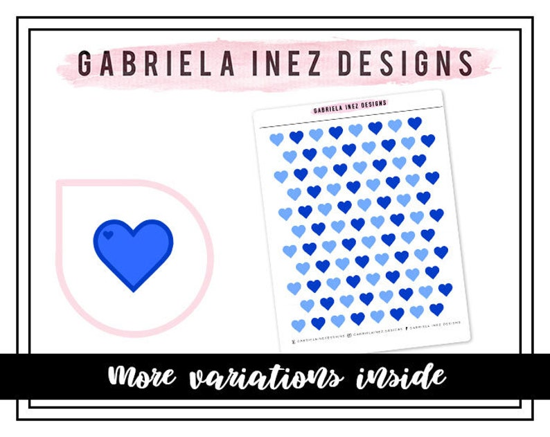 Blue Hearts Planner Stickers  Perfect for Erin Condren Life image 0