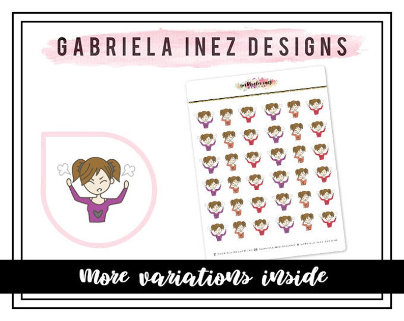 Angry and Exhausted Planner Stickers  Perfect for your Erin image 0
