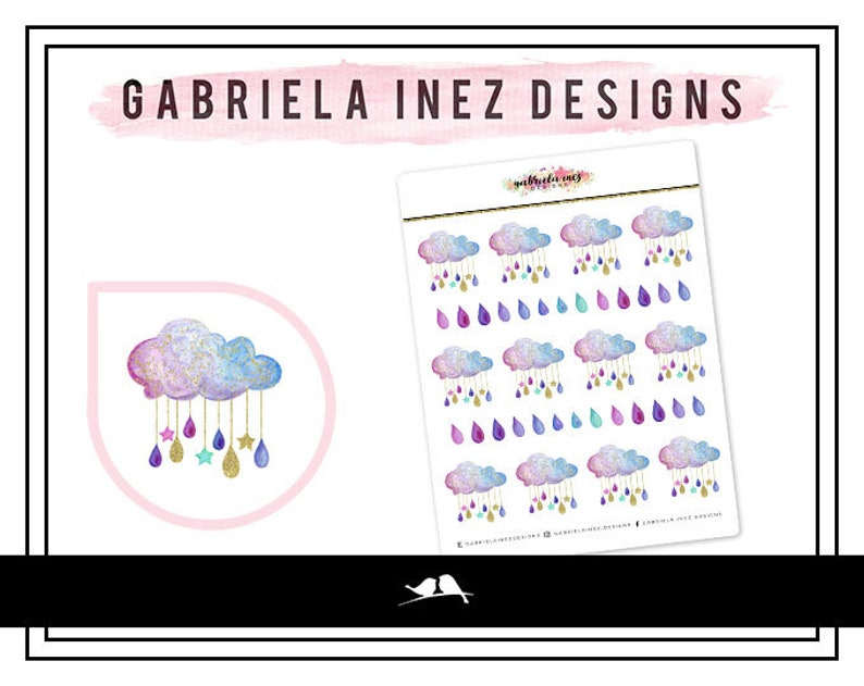 Watercolor Rainclouds & Raindrops Stickers  Perfect for Erin image 0