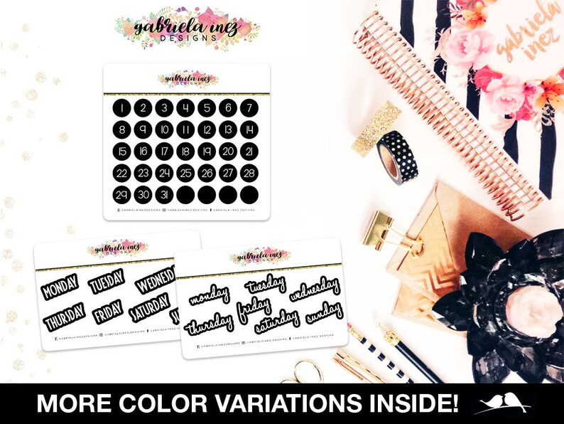Circle Weekly Numbers & Days Planner Stickers  Perfect for image 0