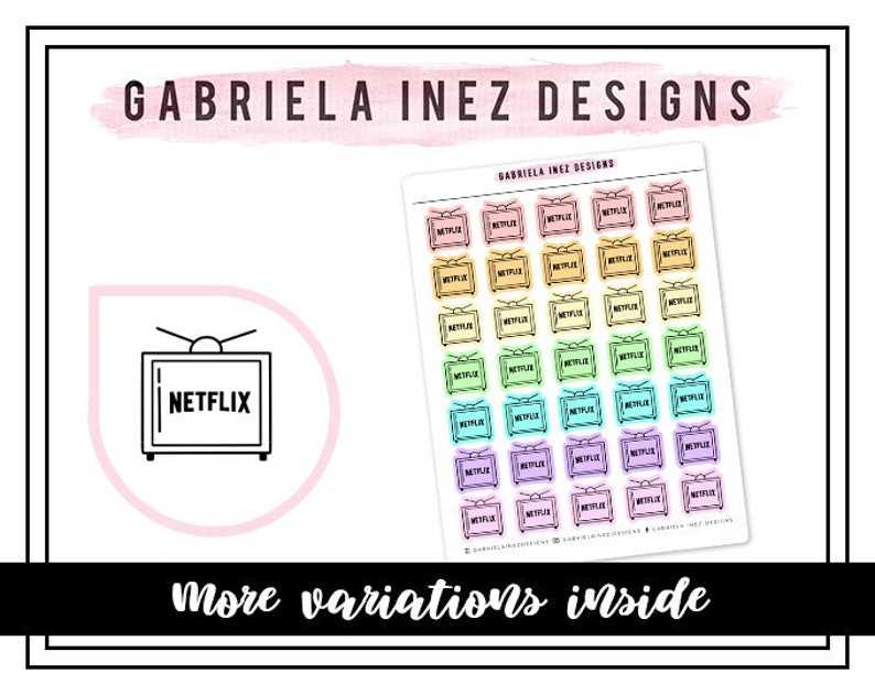 Netflix TV Icon Planner Stickers Perfect for Erin Condren image 0