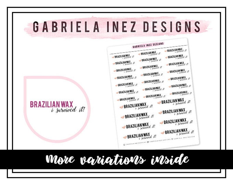 Brazilian Wax I Survived Planner Stickers  Perfect for Erin image 0