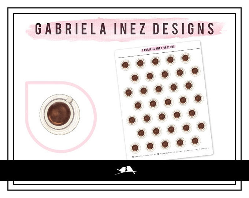 Coffee Cup Planner Stickers Perfect for Erin Condren Life image 0