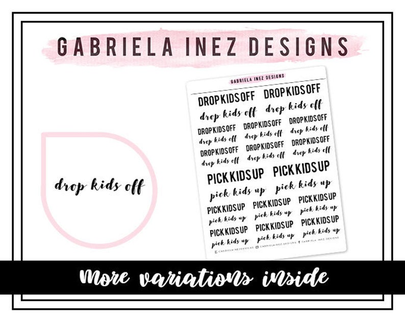 Drop Kids Off / Pick Kids Up Planner Stickers Perfect for image 0