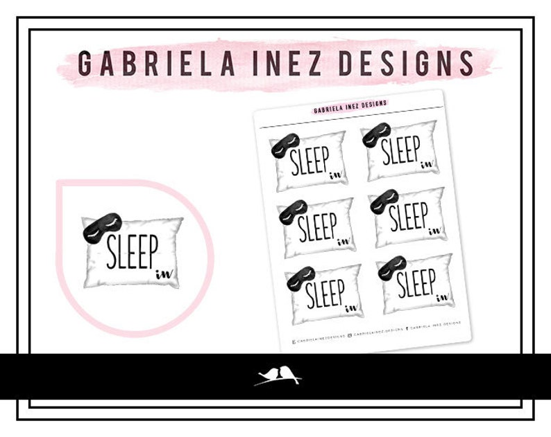 Pillow Sleep In Planner Stickers Perfect for Erin image 0