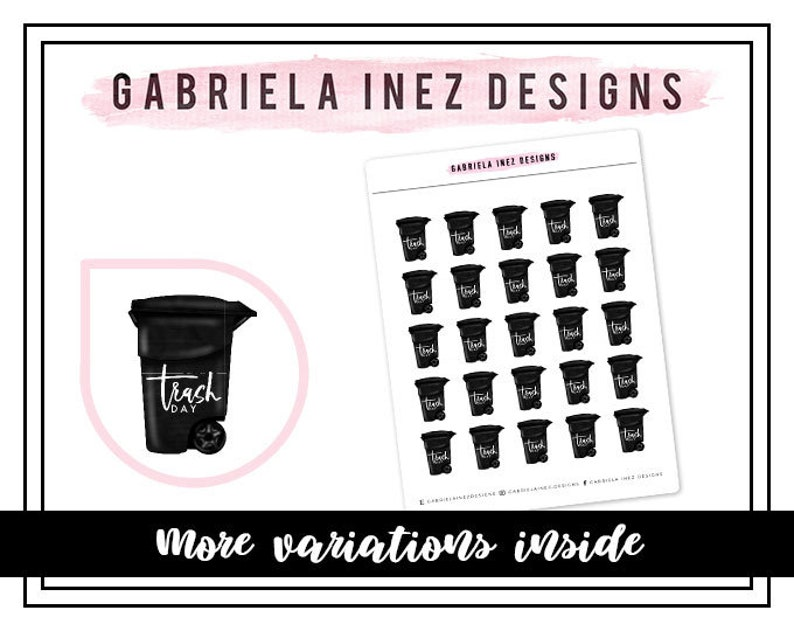 Garbage / Trash Day Trashcan Planner Stickers  Perfect for image 0