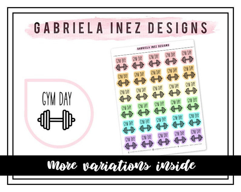 Gym Day Icon Planner Stickers Perfect for Erin Condren Life image 0