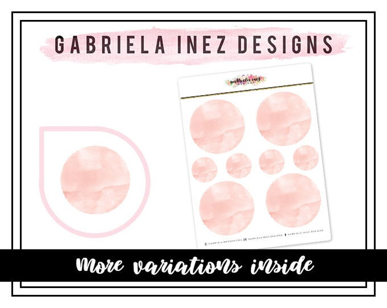 Watercolor Circles Planner Stickers  Perfect for your Erin image 0