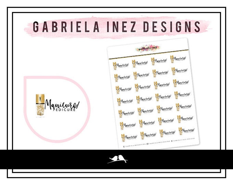 Manicure / Pedicure Planner Stickers  Perfect for your Erin image 0