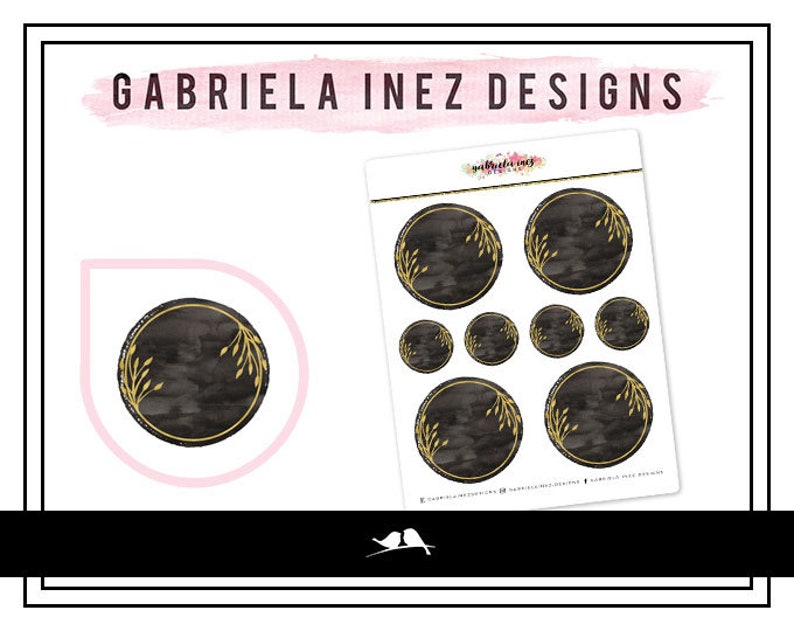 Watercolor Circles  Black Planner Stickers  Perfect for Erin image 0