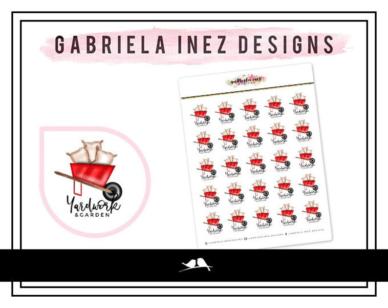 Yard Work & Gardening Planner Stickers  Perfect for any image 0