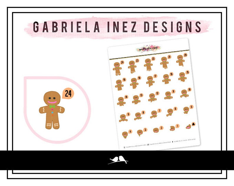 Christmas Countdown  Gingerbread Man Planner Stickers  image 0