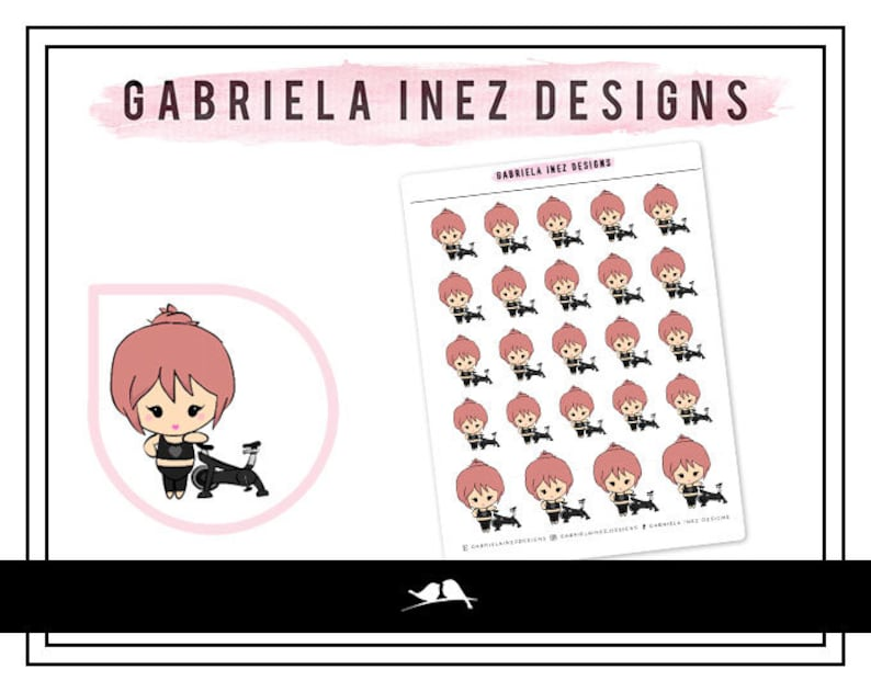 Hand Drawn Cycling Lexie Planner Stickers  Perfect for Erin image 0